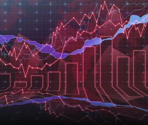 An abstract Forex graph room in red
